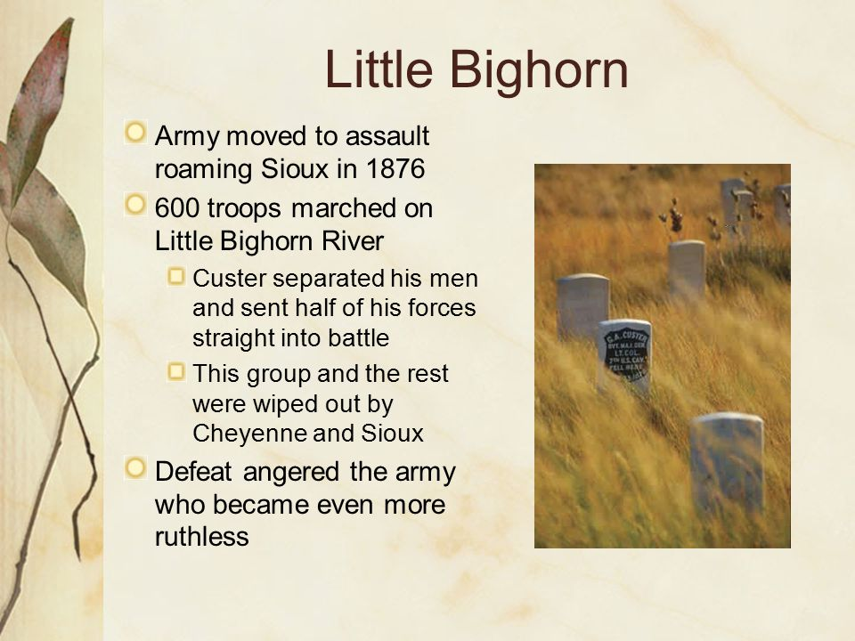 Little Bighorn Army moved to assault roaming Sioux in 1876