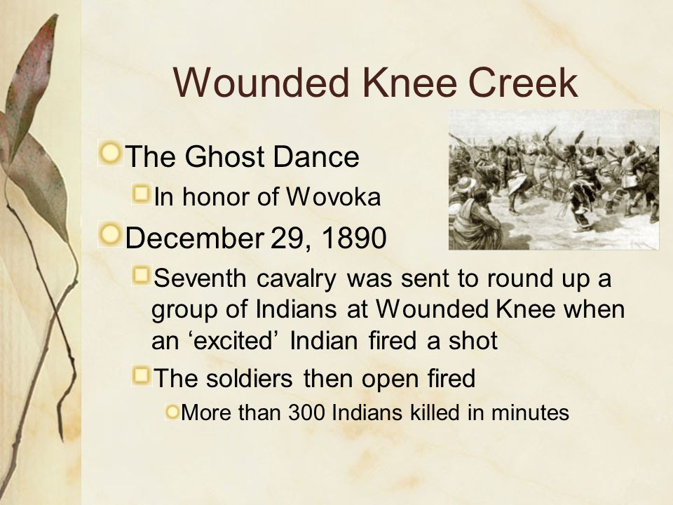 Wounded Knee Creek The Ghost Dance December 29, 1890