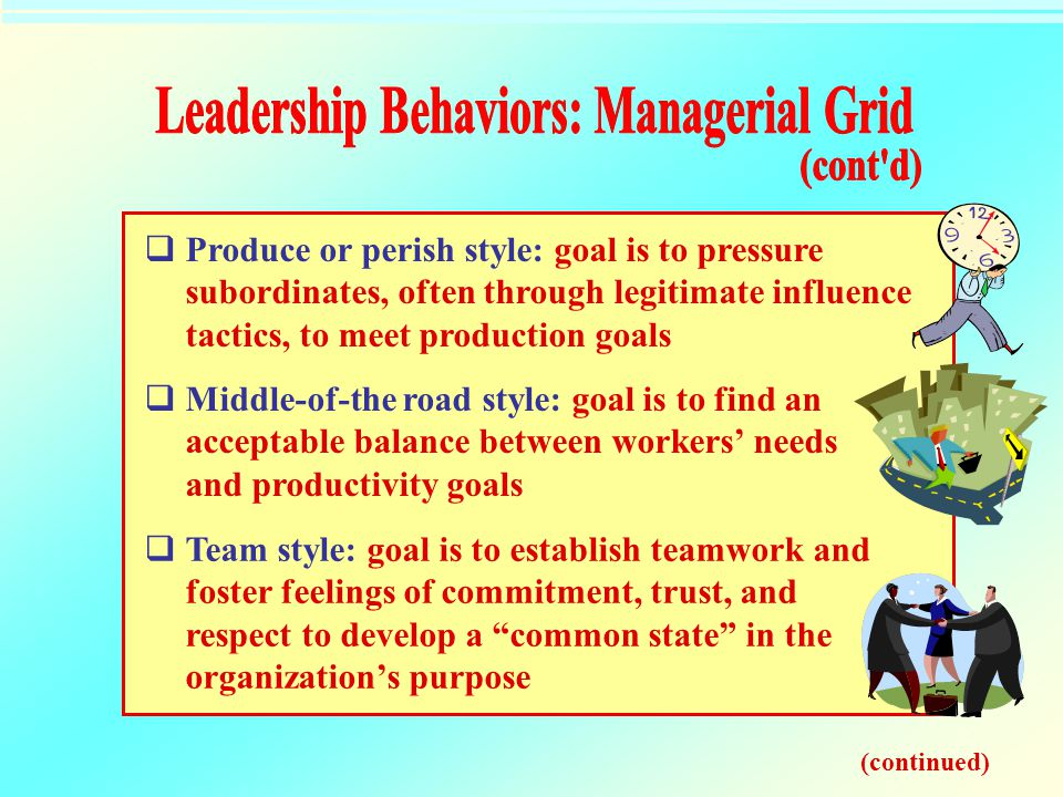 Leadership Behaviors: Managerial Grid