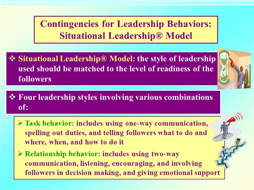 Contingencies for Leadership Behaviors: Situational Leadership® Model