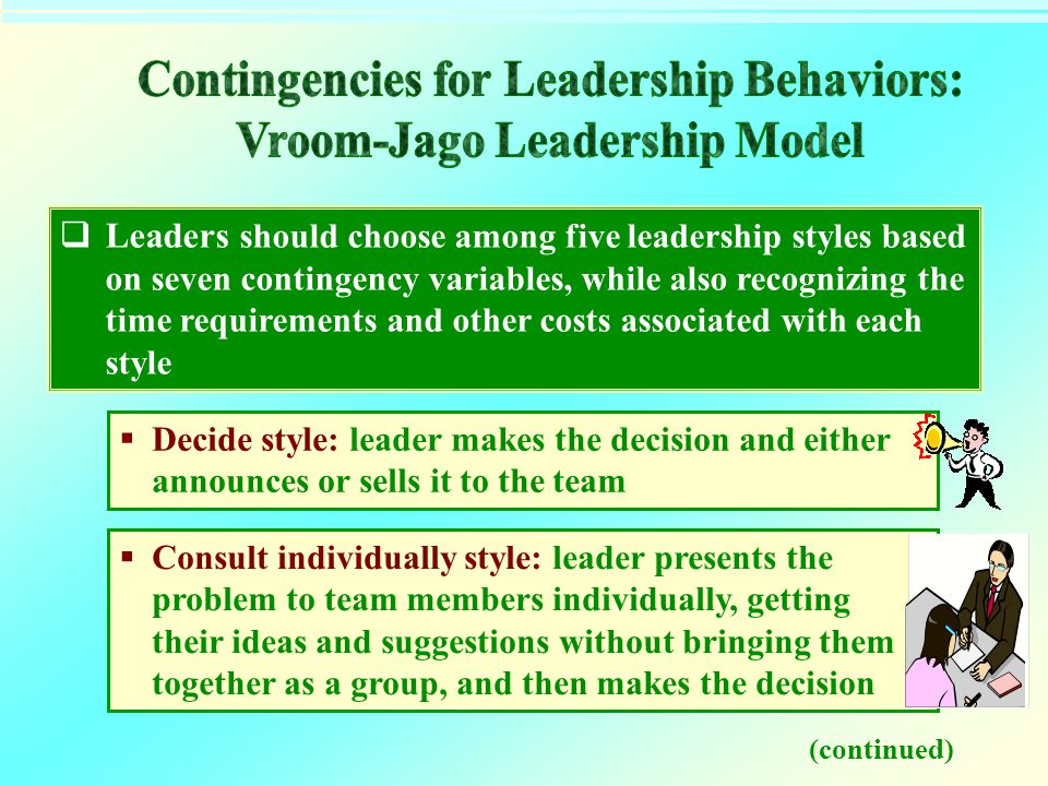 Contingencies for Leadership Behaviors: Vroom-Jago Leadership Model