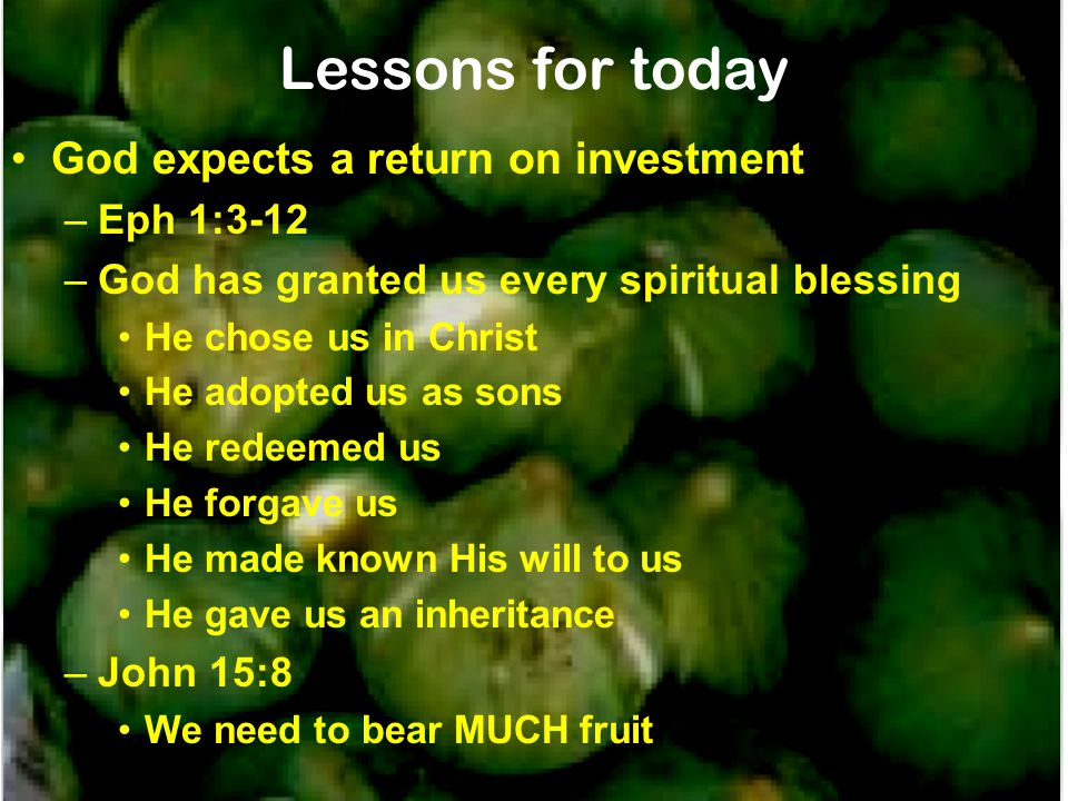 Lessons for today God expects a return on investment Eph 1:3-12