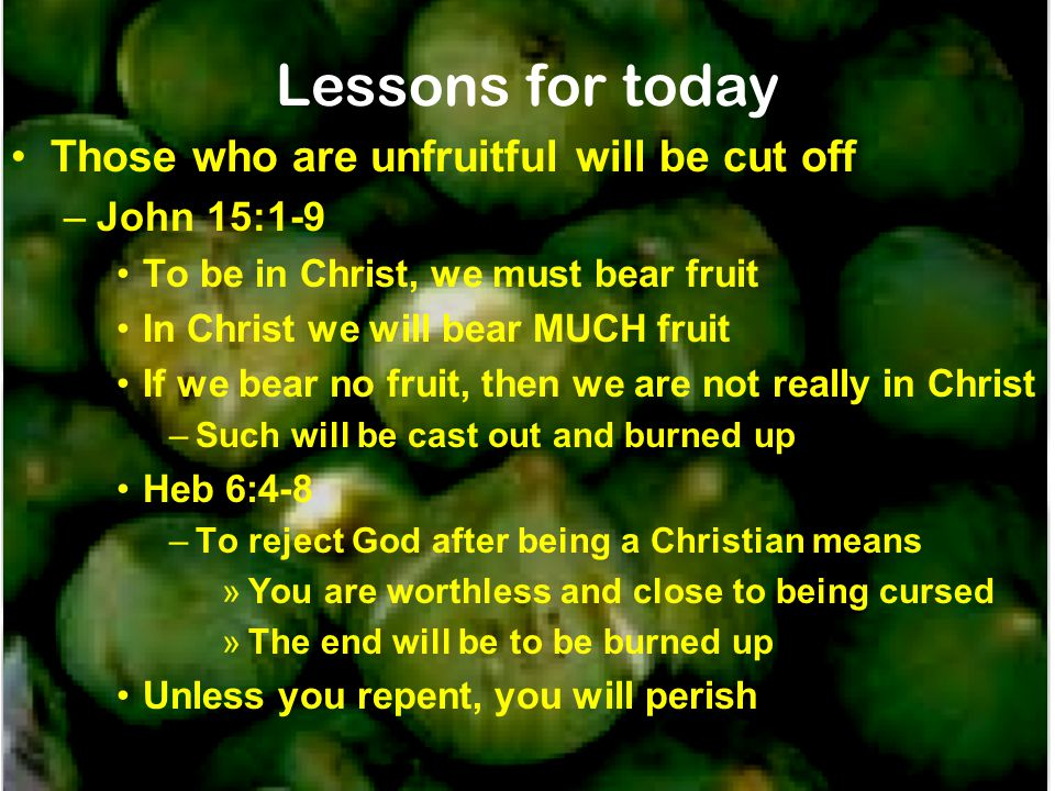 Lessons for today Those who are unfruitful will be cut off John 15:1-9