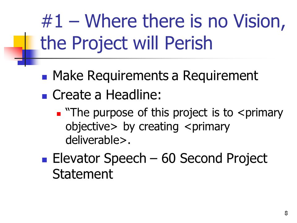 #1 – Where there is no Vision, the Project will Perish