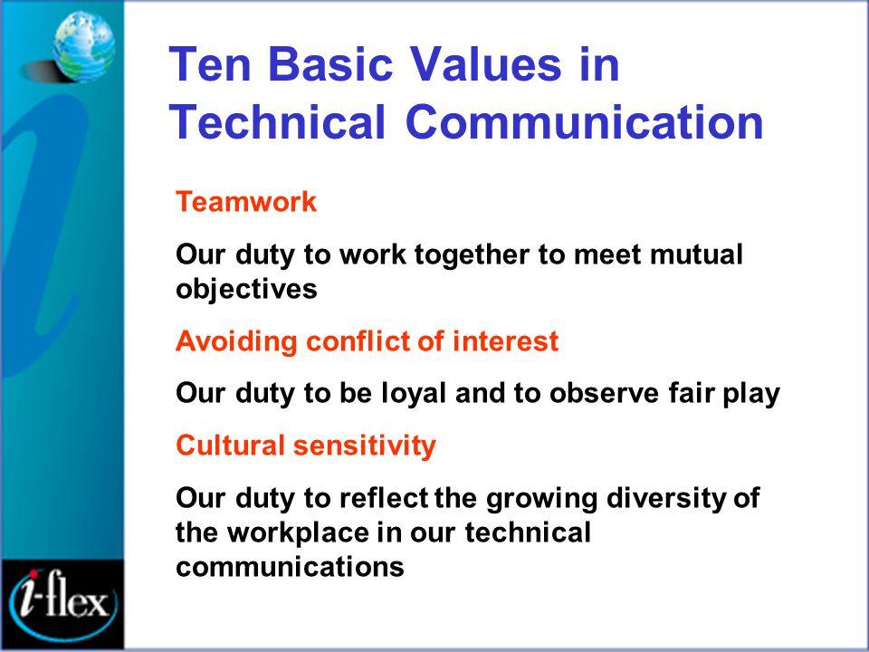 Ten Basic Values in Technical Communication