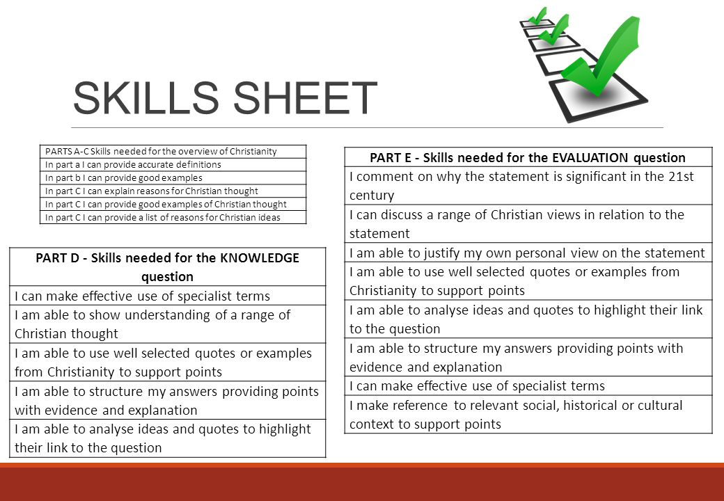 SKILLS SHEET PART E - Skills needed for the EVALUATION question