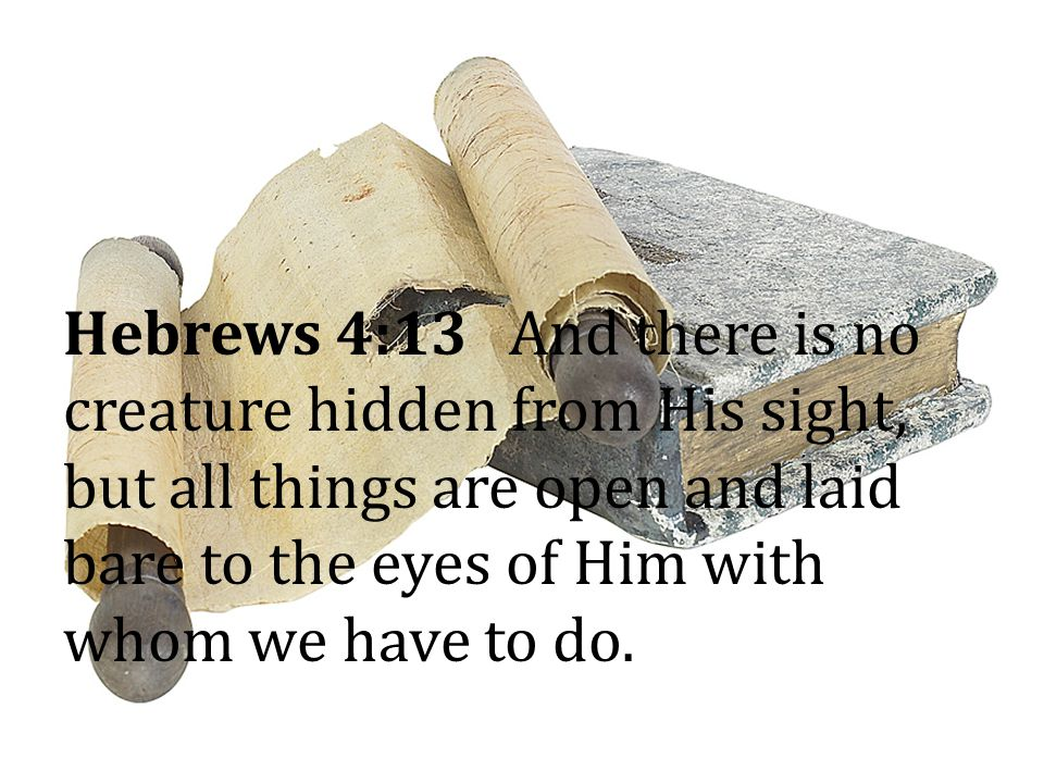 Hebrews 4:13 And there is no creature hidden from His sight, but all things are open and laid bare to the eyes of Him with whom we have to do.