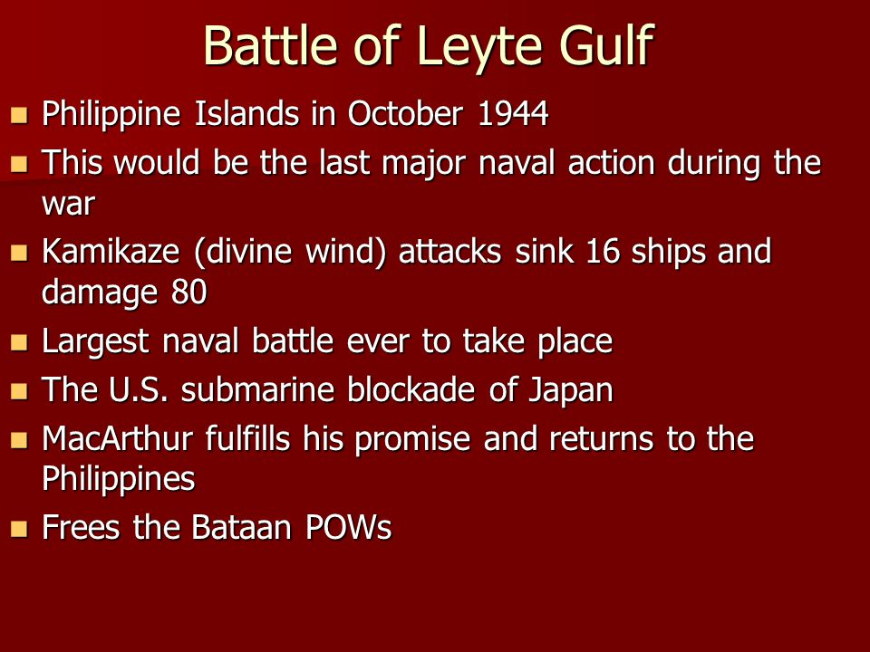Battle of Leyte Gulf Philippine Islands in October 1944