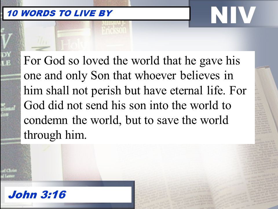 NIV 10 WORDS TO LIVE BY.