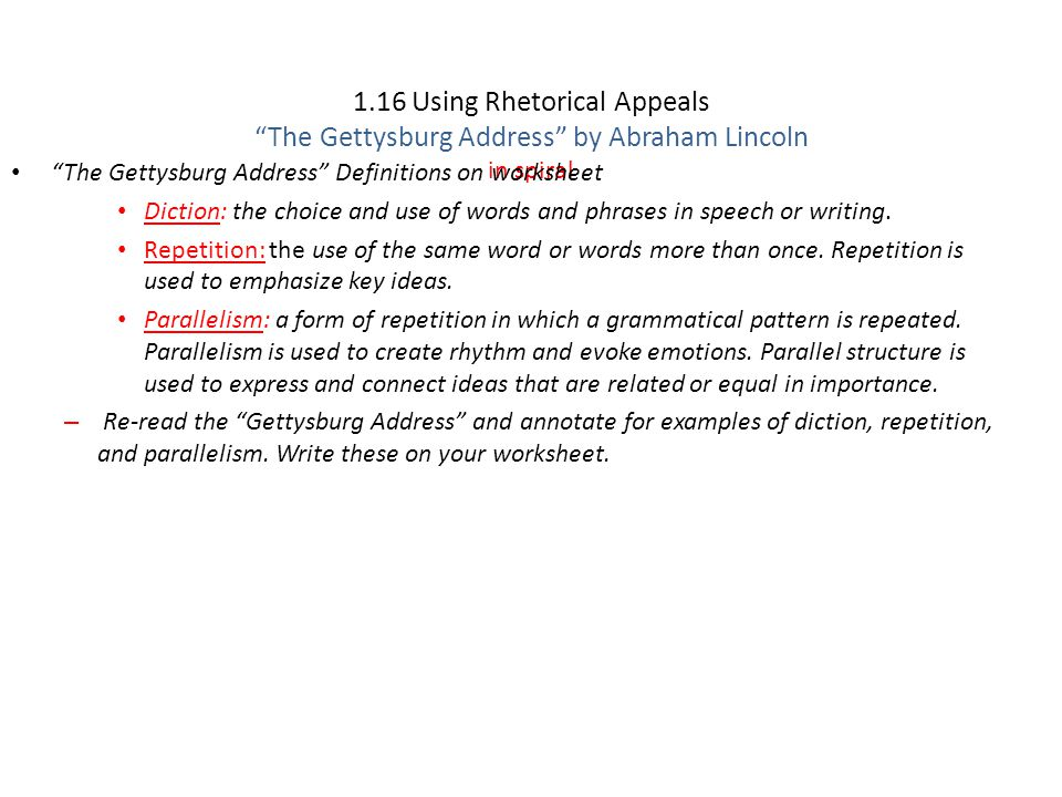 116 Using Rhetorical Appeals Page 65 ppt download – Gettysburg Address Worksheet
