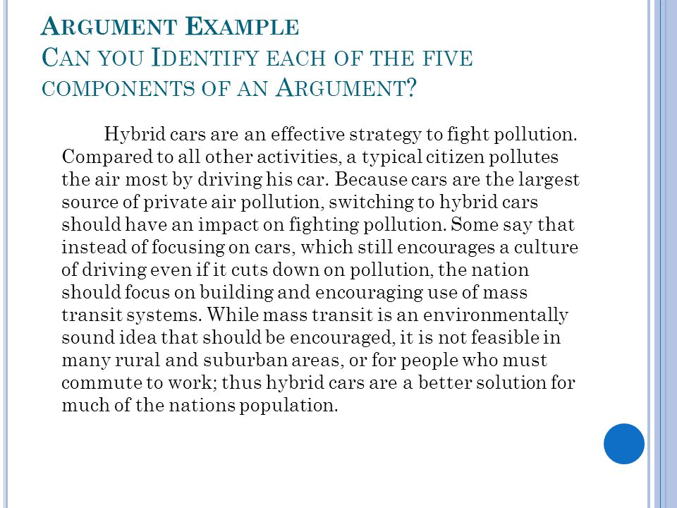 Argument Example Can you Identify each of the five components of an Argument