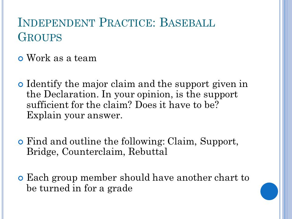 Independent Practice: Baseball Groups