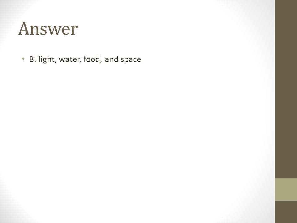 Answer B. light, water, food, and space