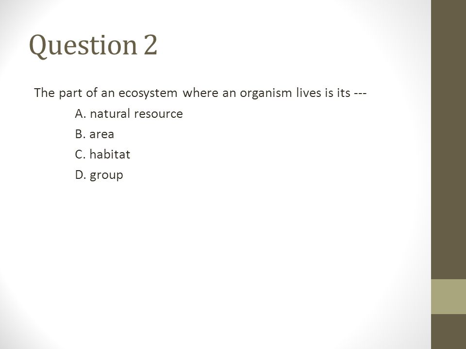 Question 2 The part of an ecosystem where an organism lives is its ---