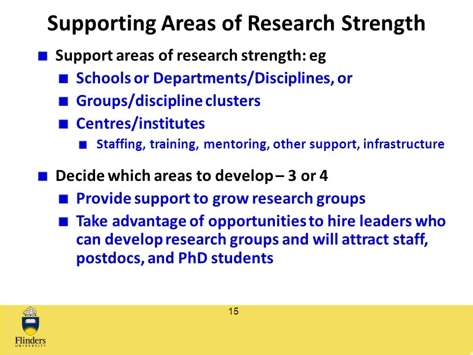 Supporting Areas of Research Strength