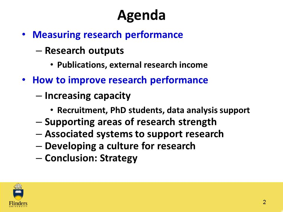 Agenda Measuring research performance Research outputs