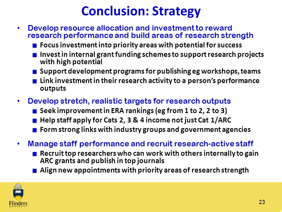 Conclusion: Strategy Develop resource allocation and investment to reward research performance and build areas of research strength.