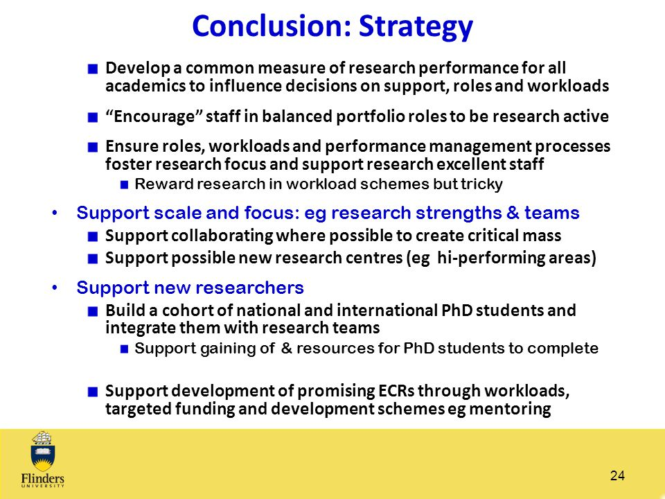 Conclusion: Strategy Develop a common measure of research performance for all academics to influence decisions on support, roles and workloads.