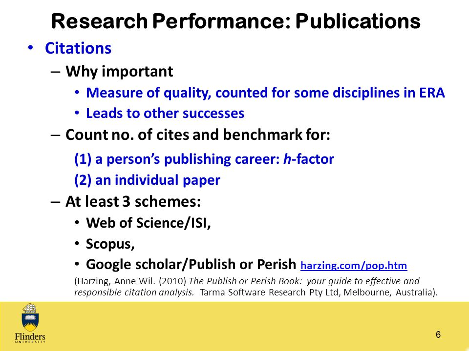 Research Performance: Publications