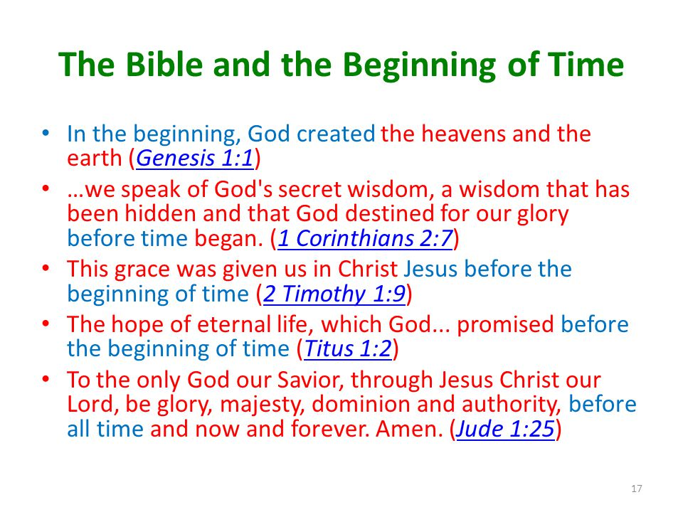 The Bible and the Beginning of Time