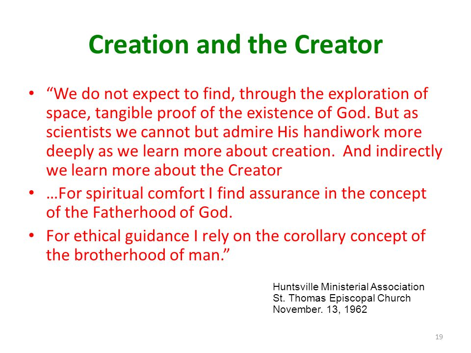 Creation and the Creator