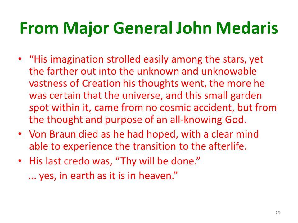 From Major General John Medaris