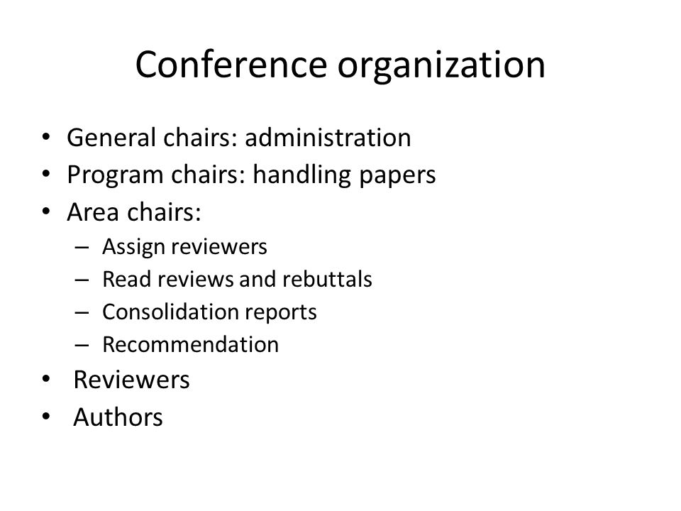 Conference organization