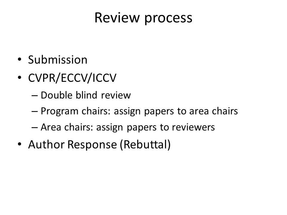 Review process Submission CVPR/ECCV/ICCV Author Response (Rebuttal)