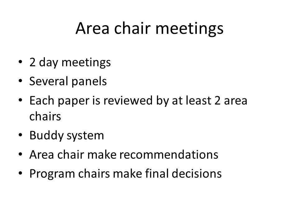 Area chair meetings 2 day meetings Several panels