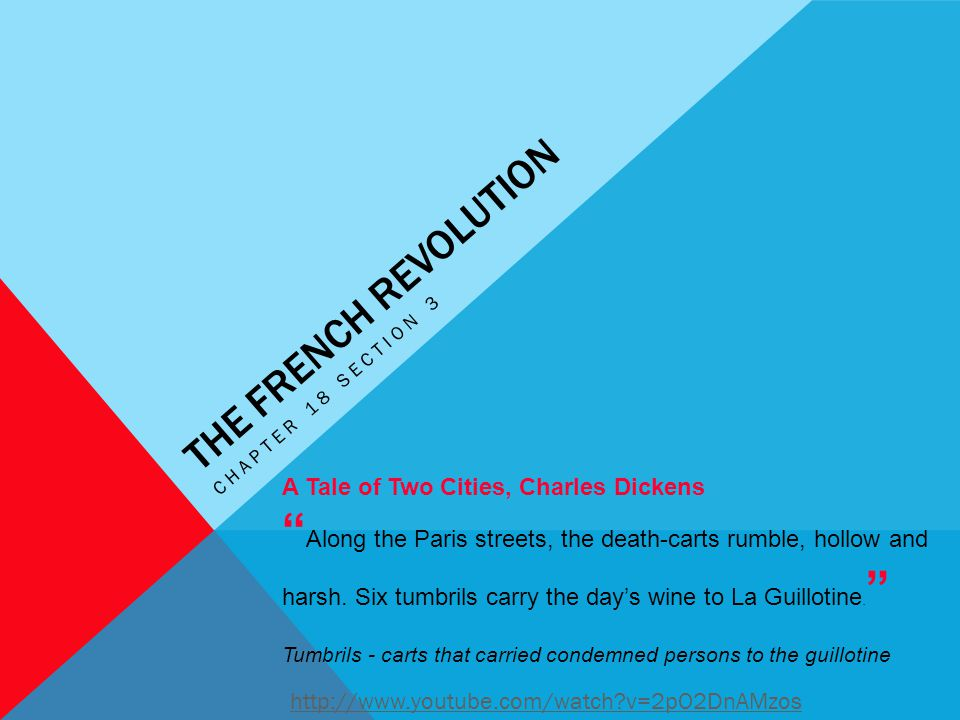 The French Revolution Chapter 18 section 3. A Tale of Two Cities, Charles Dickens.