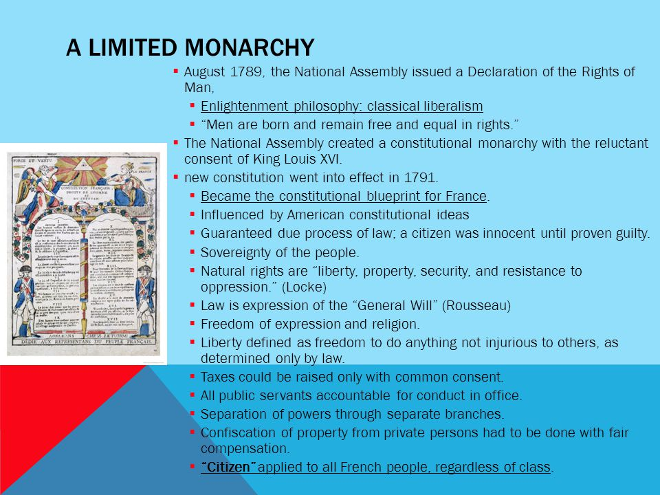 A Limited Monarchy August 1789, the National Assembly issued a Declaration of the Rights of Man, Enlightenment philosophy: classical liberalism.