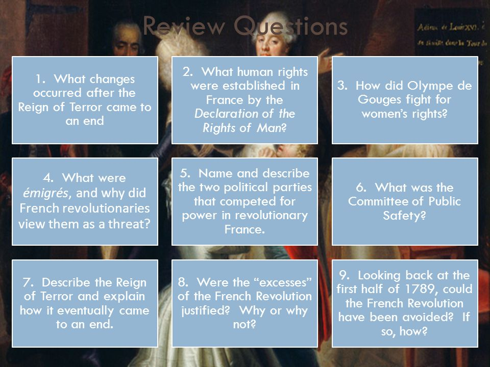 Review Questions 1. What changes occurred after the Reign of Terror came to an end.