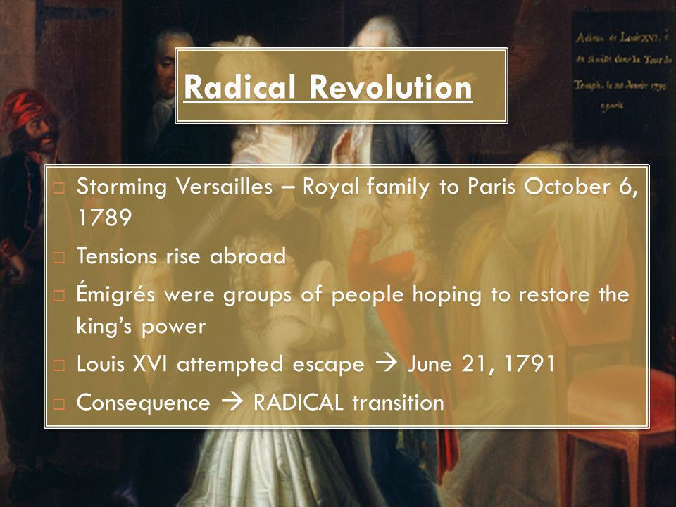 Radical Revolution Storming Versailles – Royal family to Paris October 6, 1789. Tensions rise abroad.