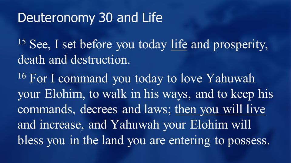 Deuteronomy 30 and Life