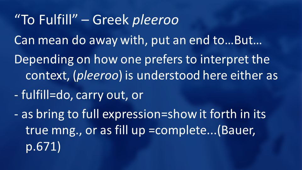 To Fulfill – Greek pleeroo