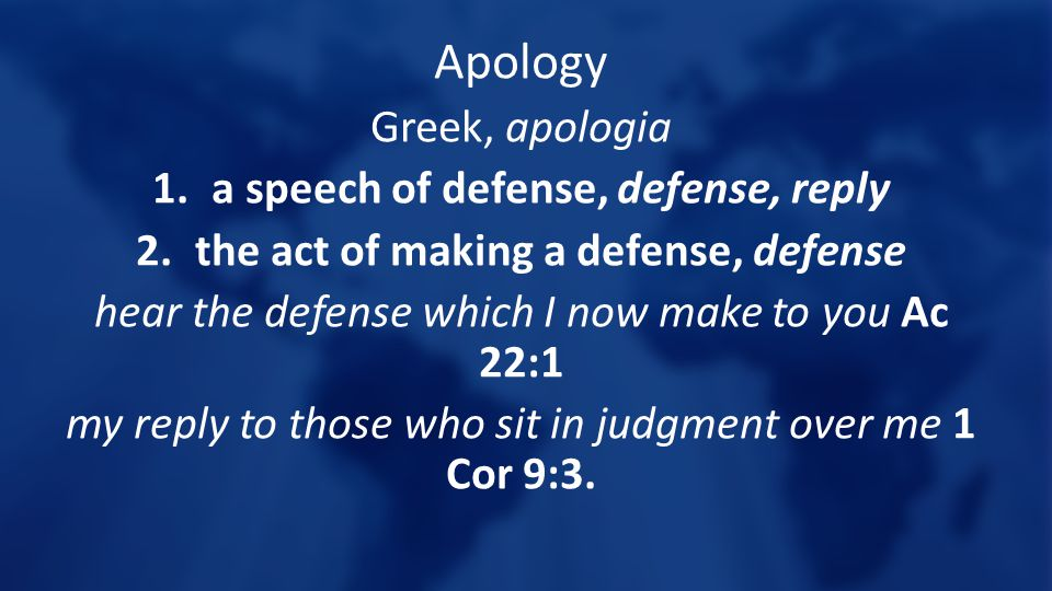 a speech of defense, defense, reply