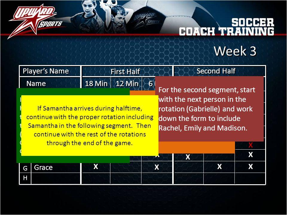 Week 3 Player's Name First Half Second Half Name 18 Min 12 Min 6 Min