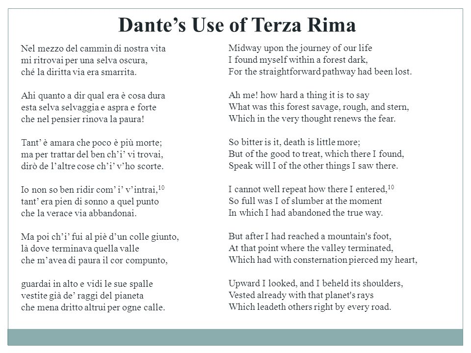 Dante's Use of Terza Rima