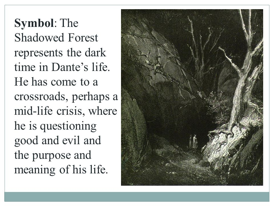 Symbol: The Shadowed Forest represents the dark time in Dante's life