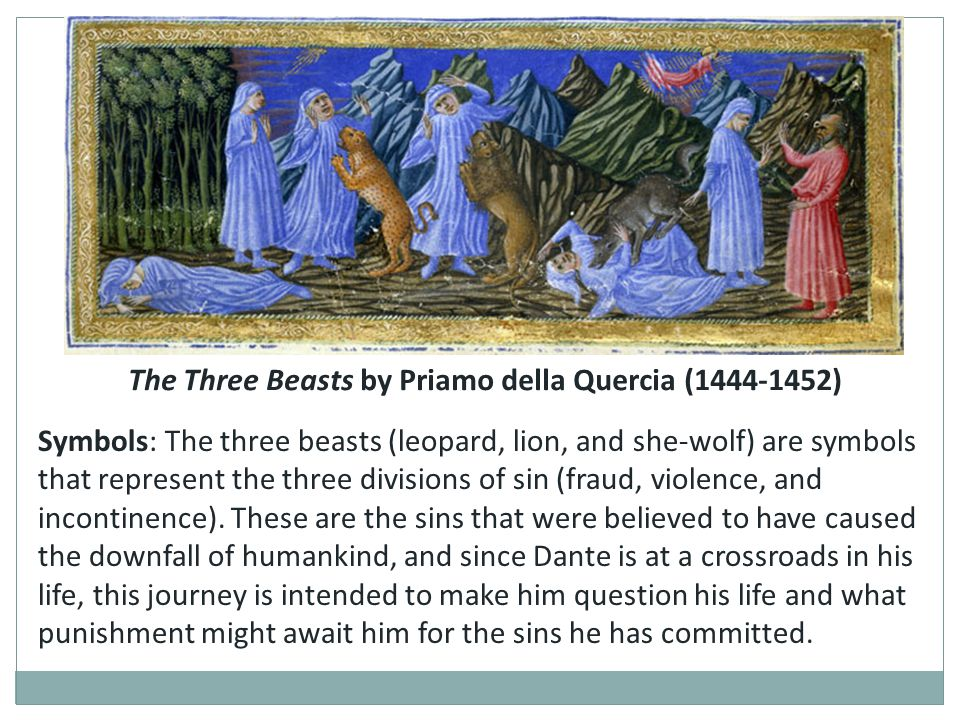 The Three Beasts by Priamo della Quercia (1444-1452)