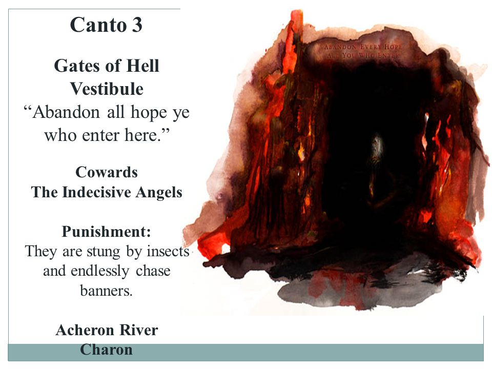 Canto 3 Gates of Hell Vestibule Abandon all hope ye who enter here.
