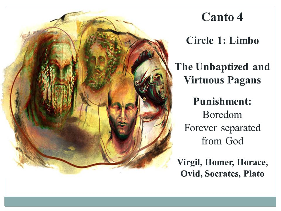 Canto 4 Circle 1: Limbo The Unbaptized and Virtuous Pagans Punishment:
