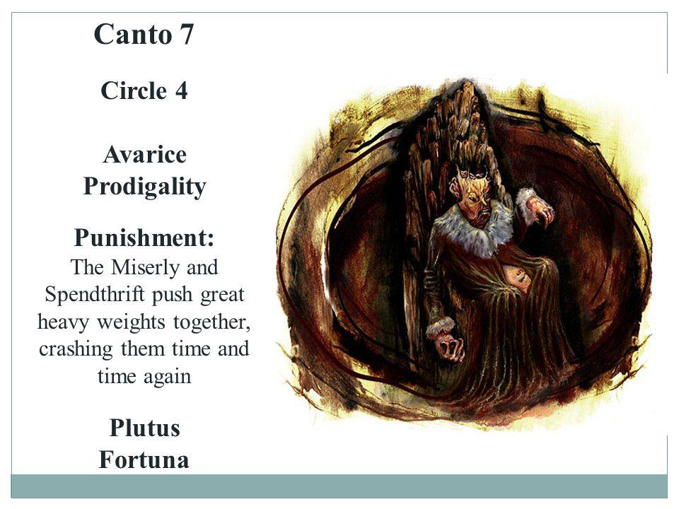 Canto 7 Circle 4 Avarice Prodigality Punishment: Plutus Fortuna