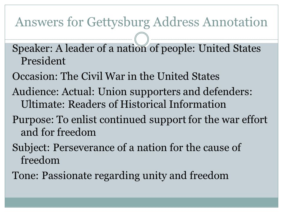 Answers for Gettysburg Address Annotation