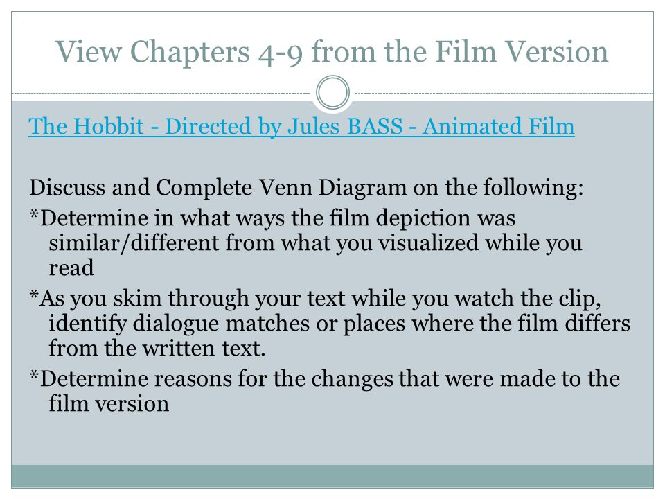 View Chapters 4-9 from the Film Version