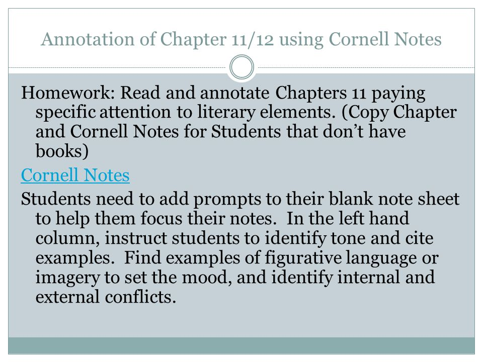 Annotation of Chapter 11/12 using Cornell Notes