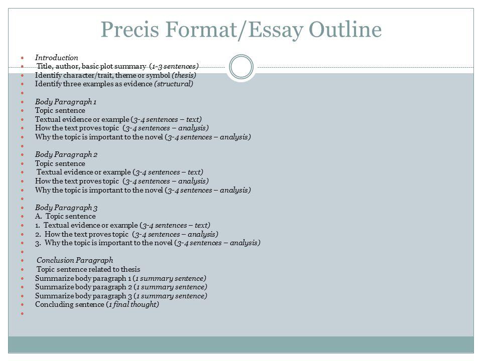 Precis Format/Essay Outline