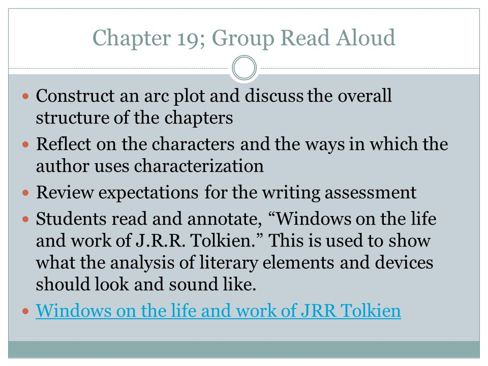 Chapter 19; Group Read Aloud