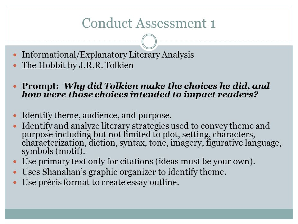 Conduct Assessment 1 Informational/Explanatory Literary Analysis
