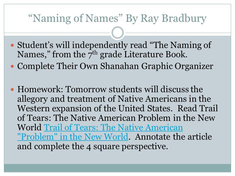 Naming of Names By Ray Bradbury